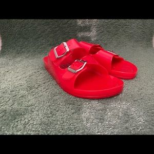 Bright red sandals